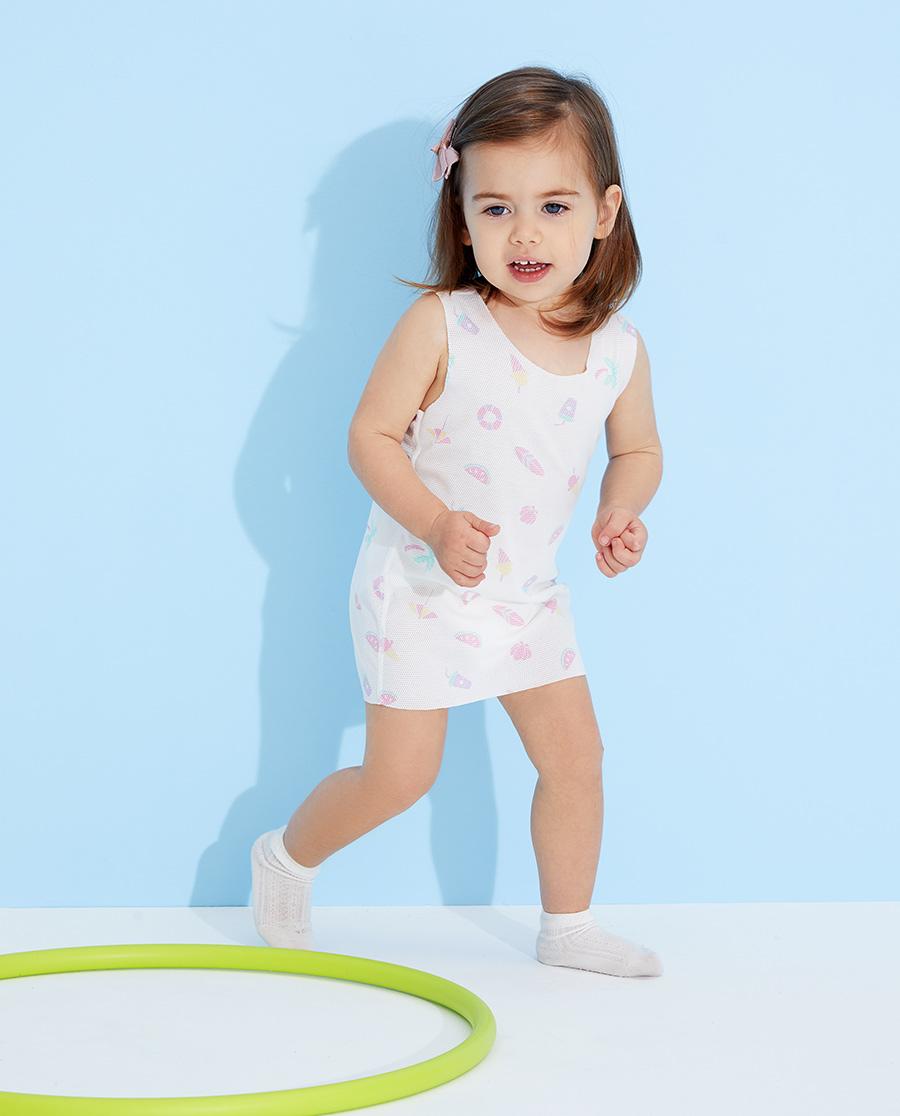 Aimer Baby睡衣|愛慕嬰兒夏日樂陶陶女嬰幼滿印長背心AB1