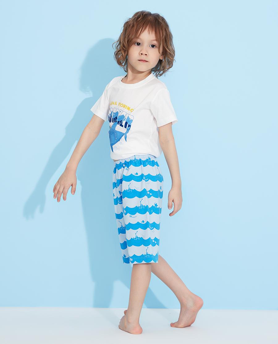 Aimer Kids睡衣|愛慕兒童海浪鯊魚男孩五分睡褲AK2422
