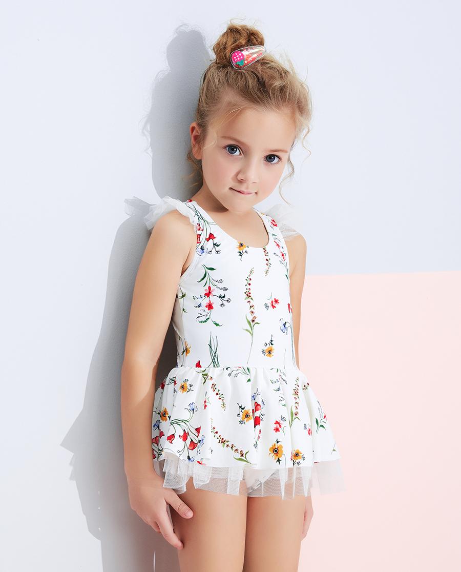 Aimer Kids泳衣|愛慕兒童花園蜜語女孩裙式連體泳衣AK16