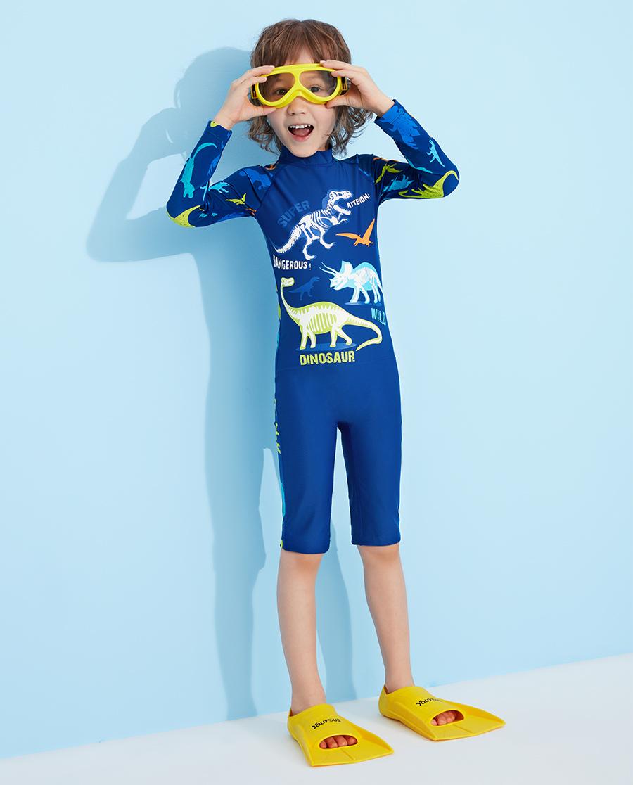 Aimer Kids泳衣|愛慕兒童恐龍家族長袖連體泳衣AK2673