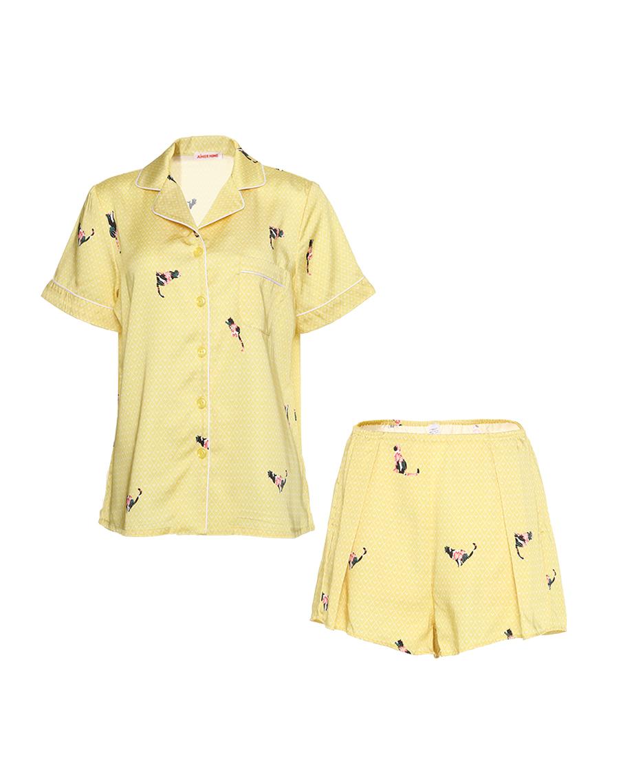 Aimer Home睡衣|愛慕花喵短袖短褲分身家居套裝AH4608