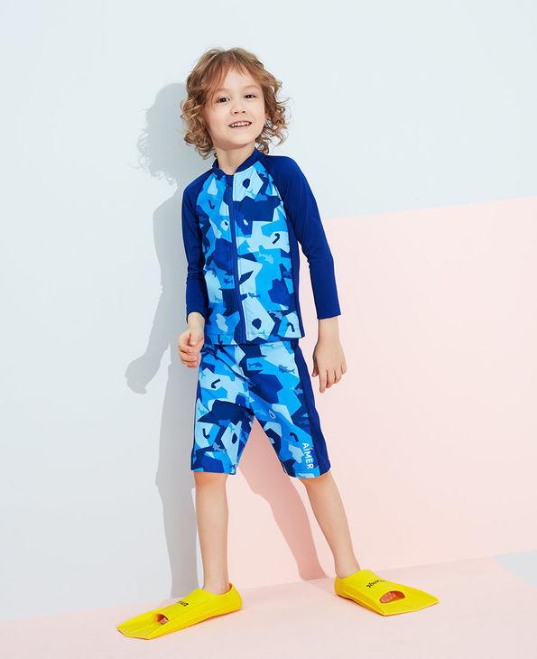 Aimer Kids泳衣|爱慕儿童色块迷彩男孩五分泳裤AK2673233