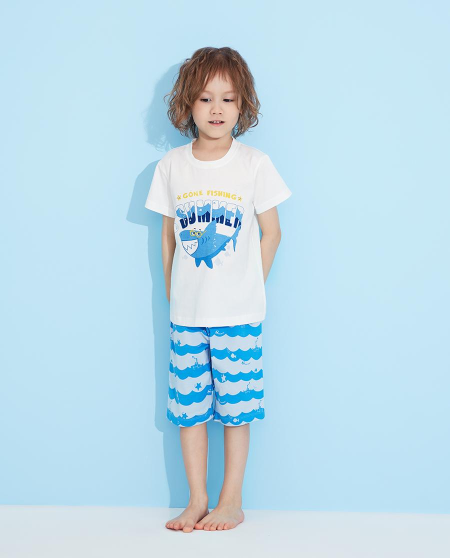 Aimer Kids睡衣|愛慕兒童海浪鯊魚套頭短袖睡衣AK2412