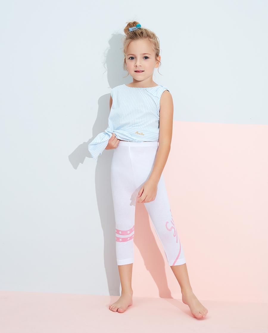 Aimer Kids睡衣|愛慕兒童印花打底褲星條字母七分打底褲AK