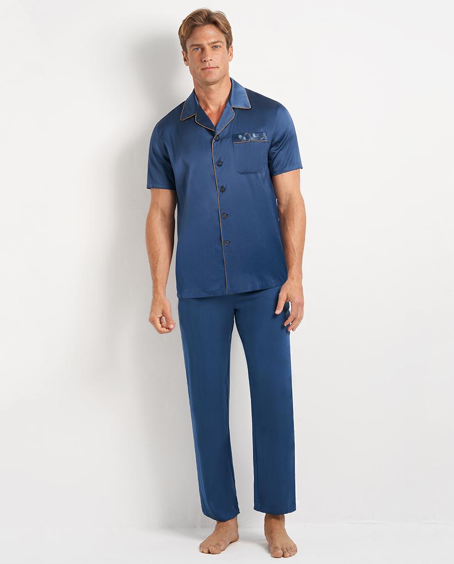 Aimer Men睡衣|愛慕先生愛樂之城套裝翻領開衫短袖+長褲N
