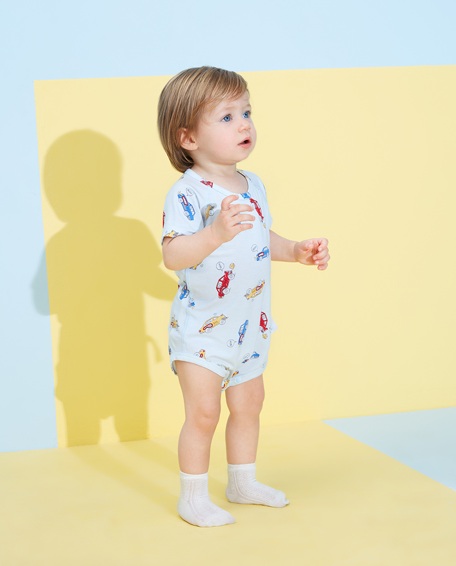 Aimer Baby睡衣|爱慕婴儿赛车总动员男婴幼短袖无腿连体爬服