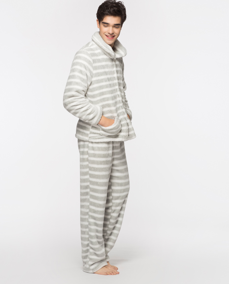 IMIS睡衣|愛美麗在線-家居條紋男士分身系扣長袖長褲