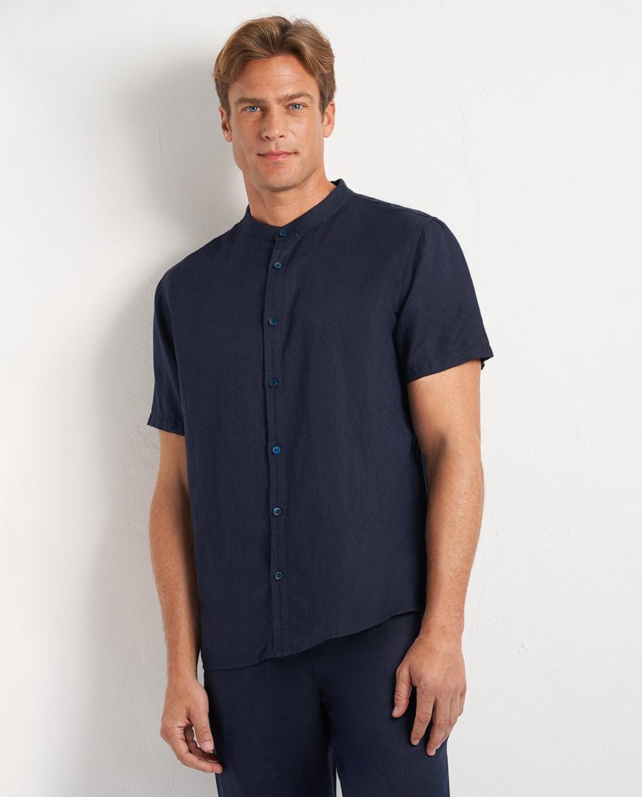 Aimer Men睡衣|爱慕先生休闲亚麻立领开衫短袖NS81D6