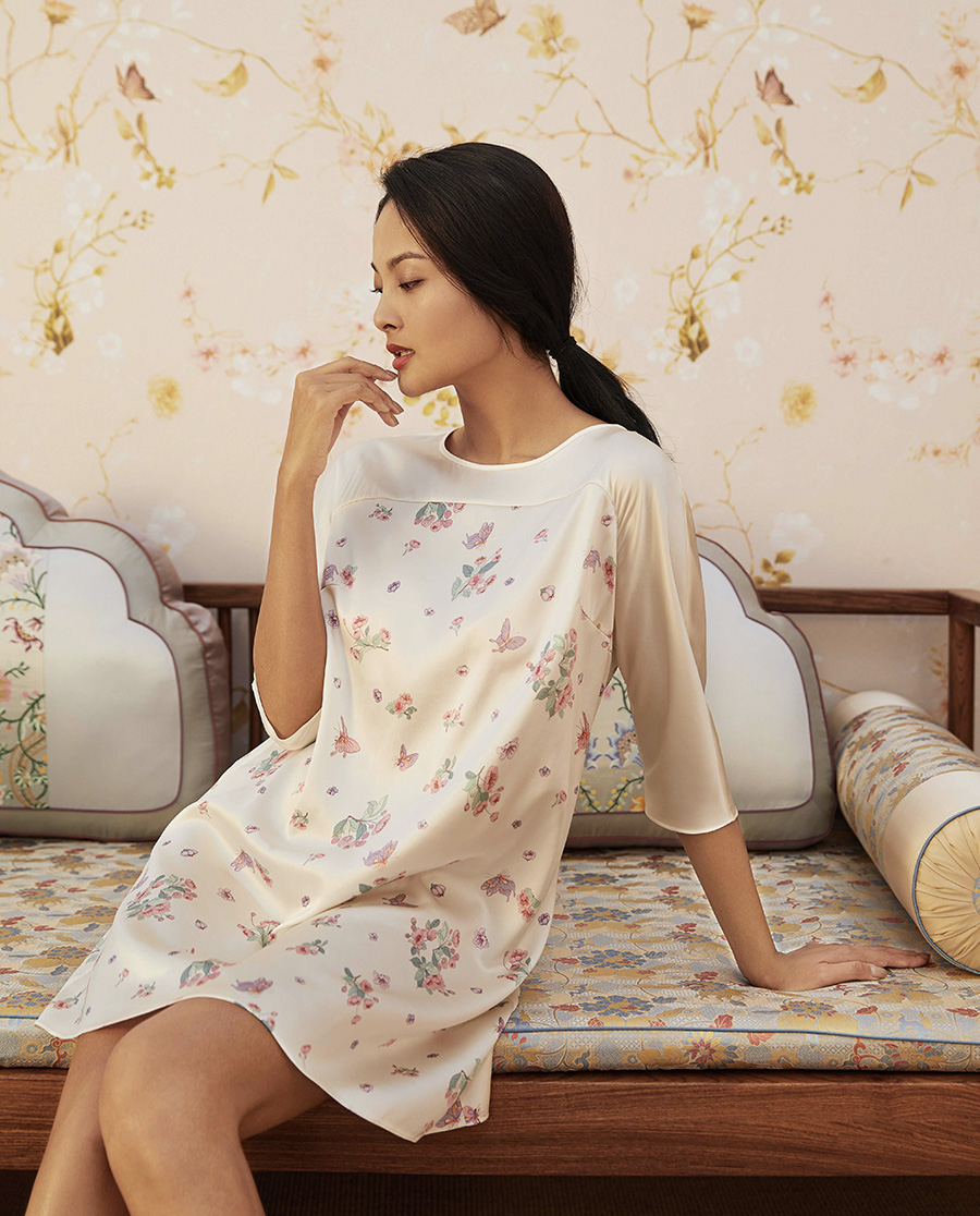 EMPERORIENT睡衣|皇錦拼接式寬松連衣裙HJ21260