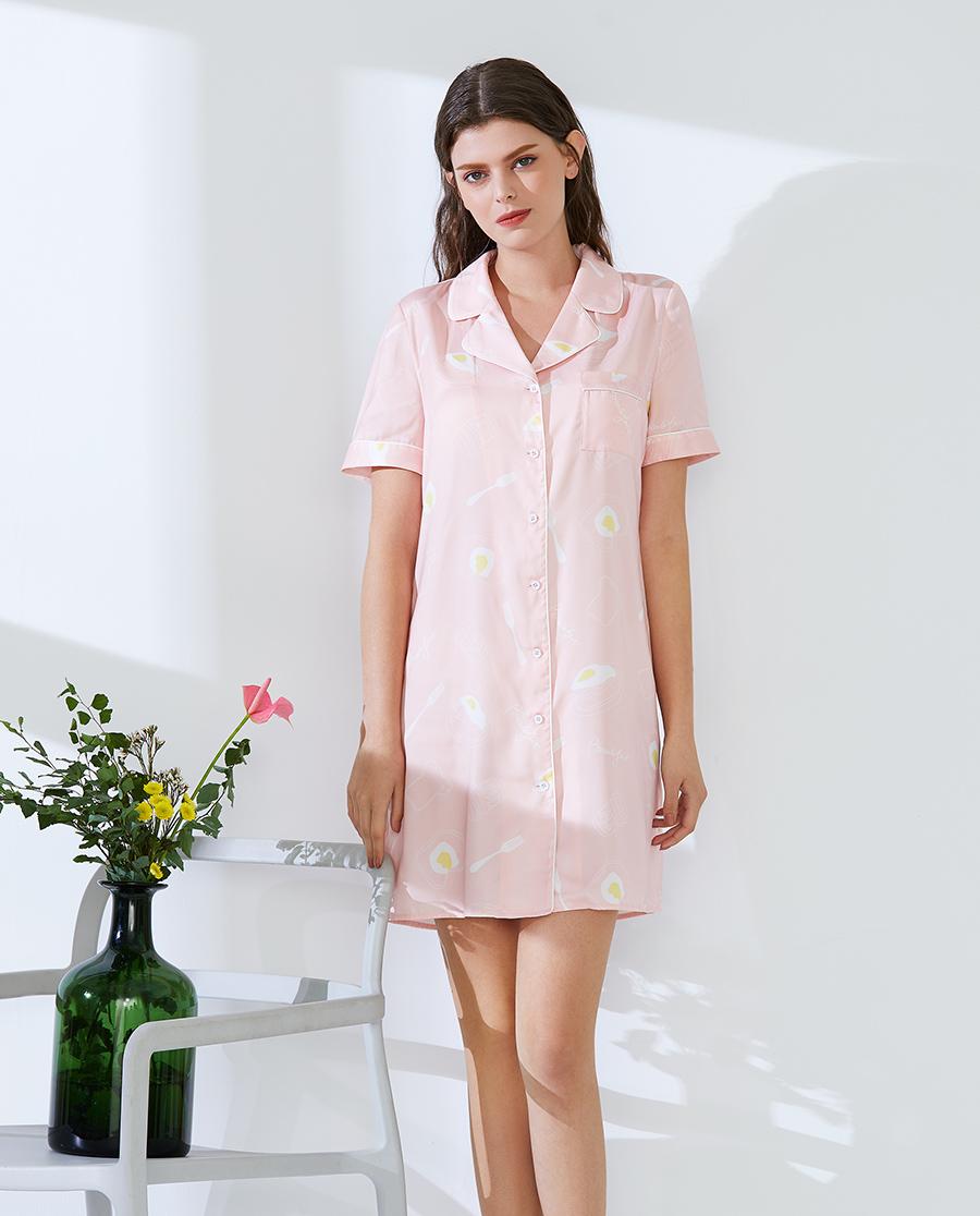 IMIS睡衣|愛美麗家居趣味印花 短袖襯衫長裙IM44