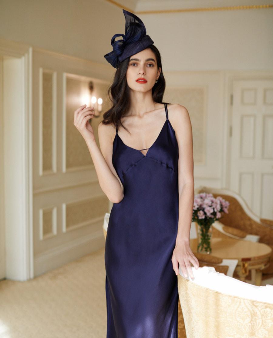 LUNA DI SETA睡衣|純凈系列真絲長吊裙