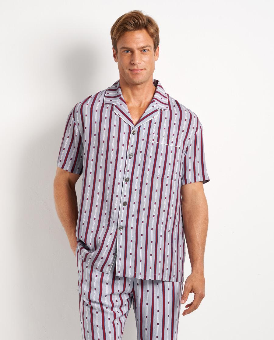 Aimer Men睡衣|爱慕先生梭织条纹印花套头短袖NS41D821