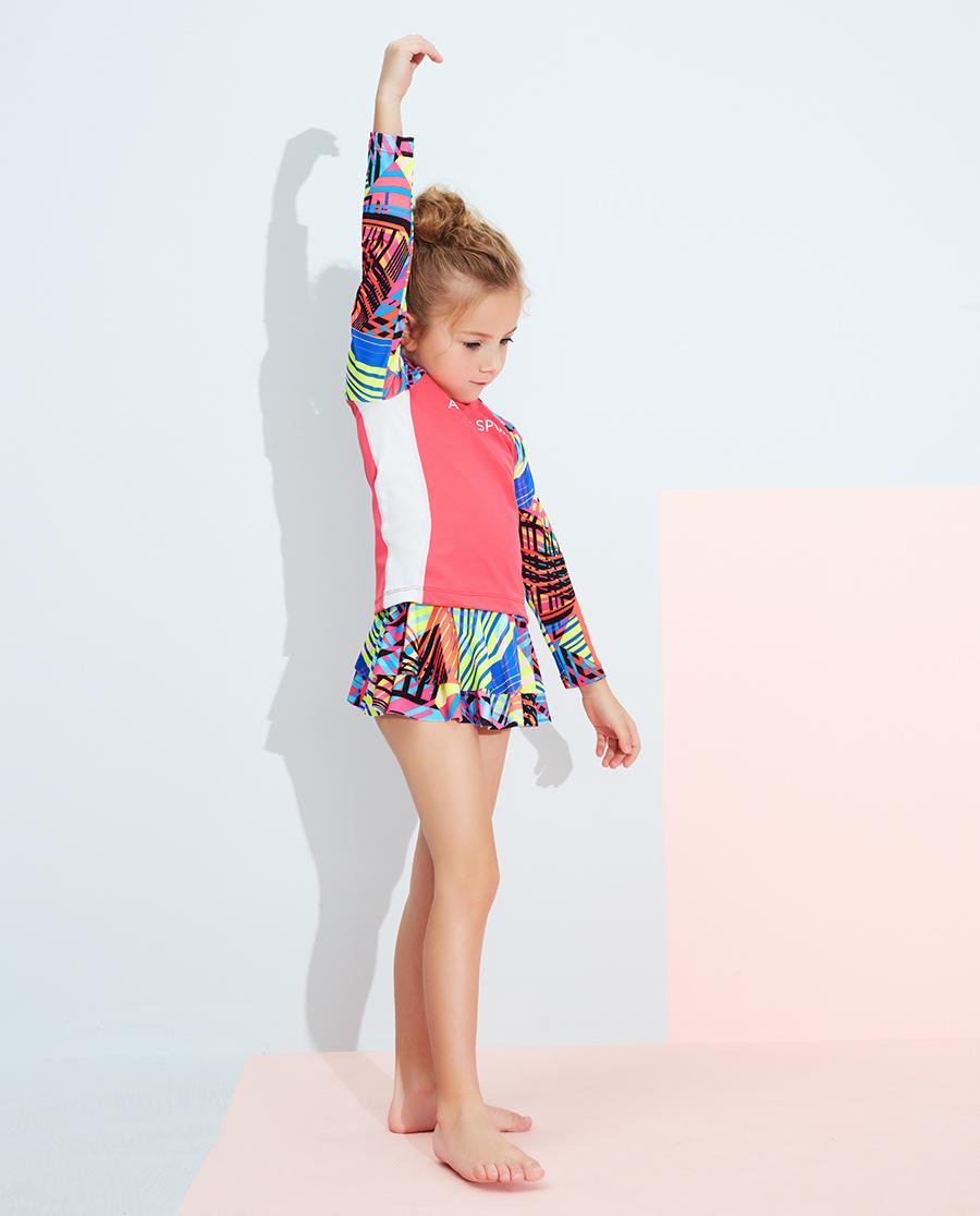 Aimer Kids泳衣 爱慕儿童3件装炫彩活力长袖泳衣套装AK1