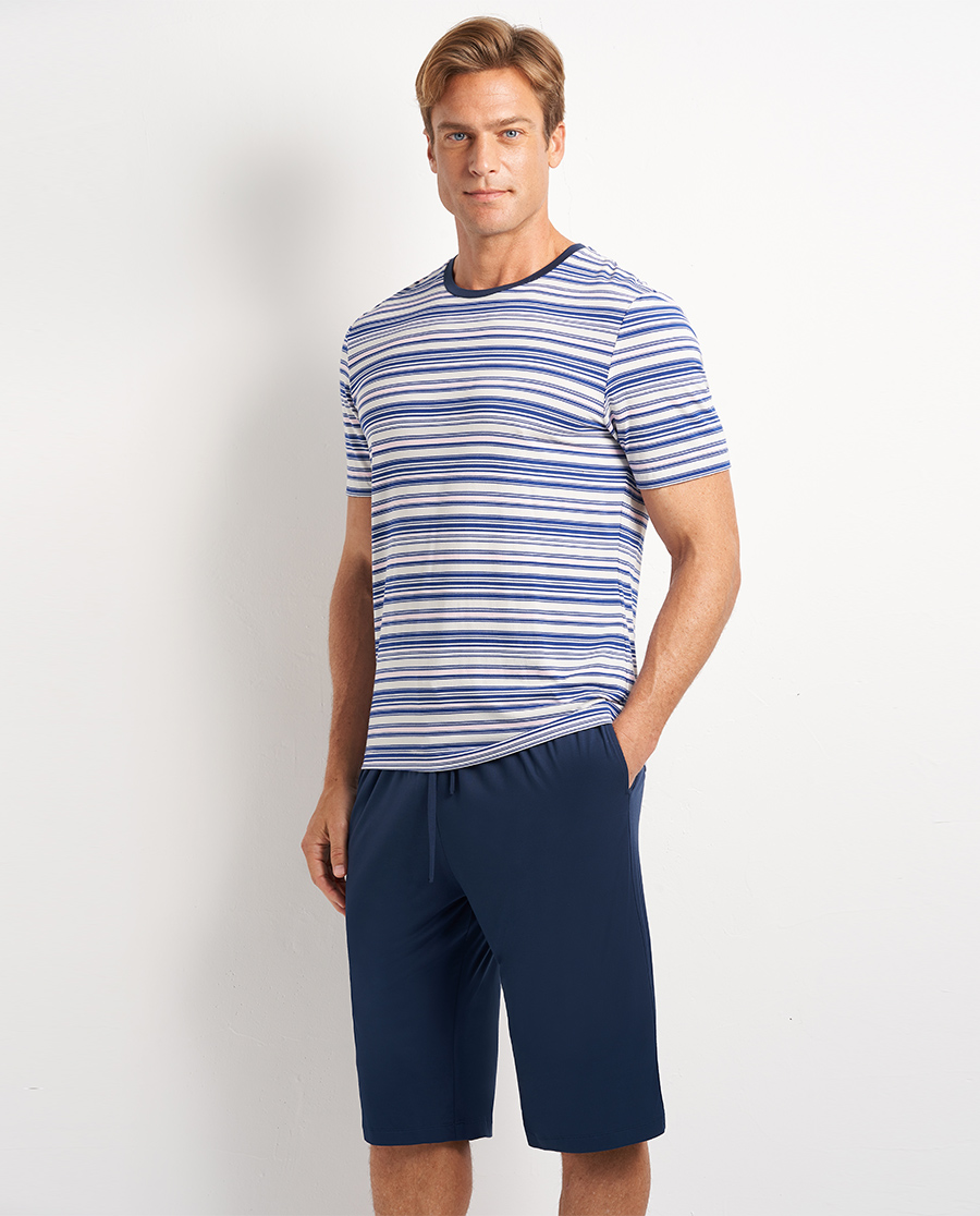 Aimer Men睡衣|爱慕先生20SS条纹情怀圆领套头短袖NS