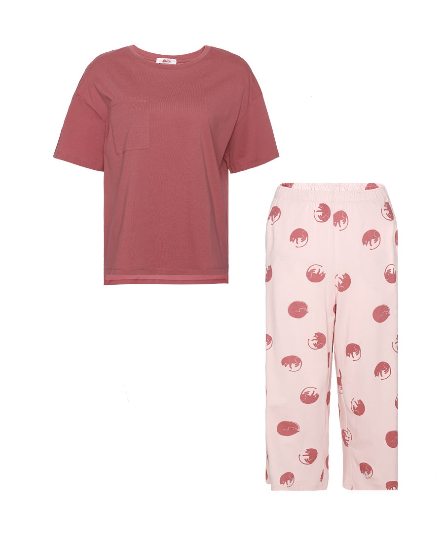 Aimer Basic睡衣|愛慕在線-涼感棉印花七分袖七分褲套裝AM