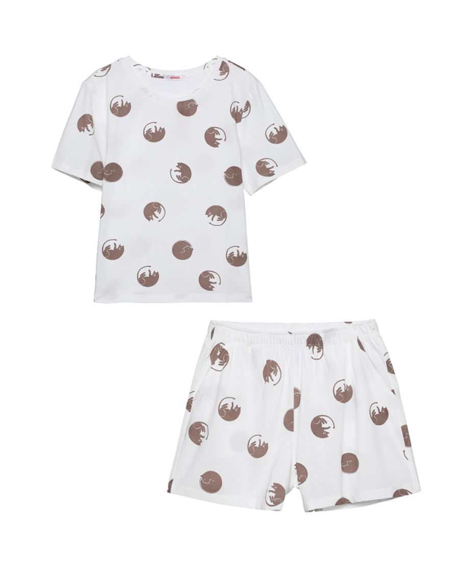 Aimer Basic睡衣|愛慕在線-涼感棉印花圓領短袖短褲套裝AM