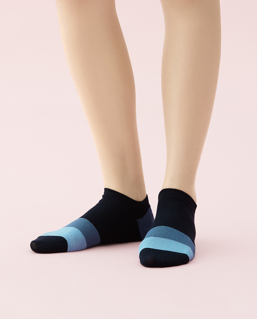 JOURVA襪子|足哇溫馨家人拼色條紋女士船襪JV1110