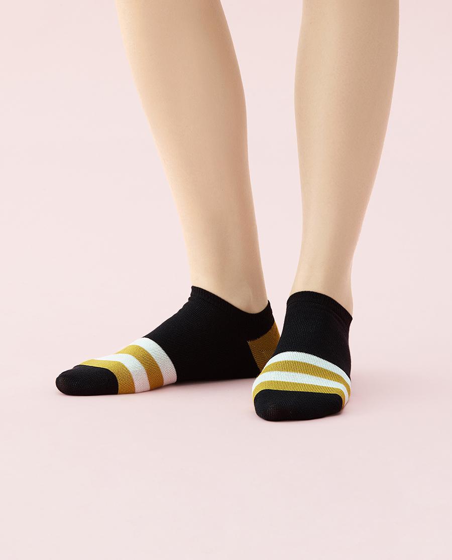 JOURVA袜子|足哇温馨家人拼色条纹女士船袜JV1110