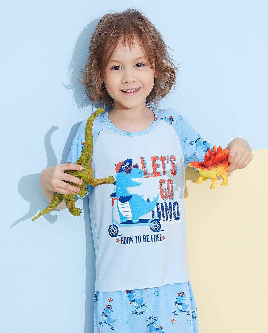 爱慕儿童滑板恐龙男孩套头短袖睡衣AK2412892