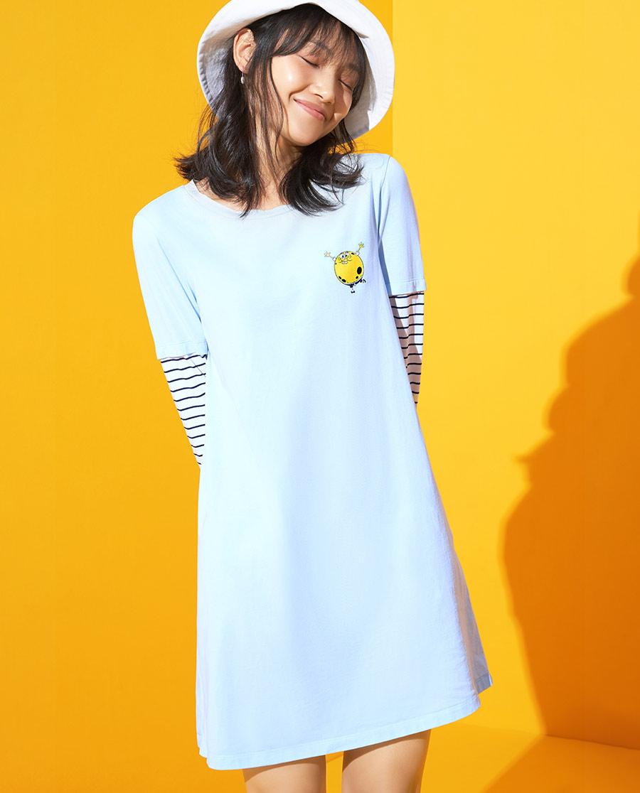 爱美丽海绵宝宝大系列圆领假两件连衣裙IM44AYC1
