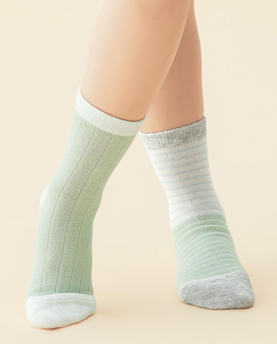 JOURVA袜子|足哇清爽一夏(2件包)绿色条纹棉质短筒袜