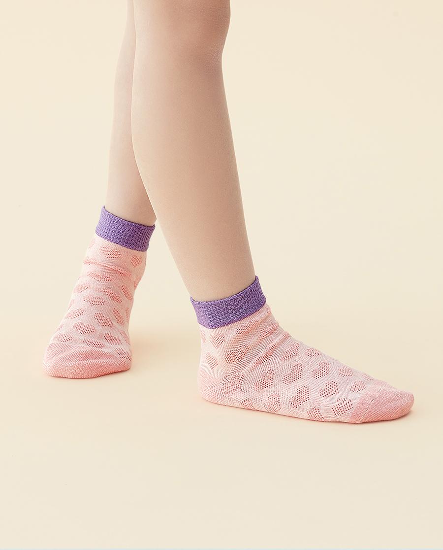 JOURVA袜子|足哇可爱桃心冰芙美提花儿童短筒袜JV51
