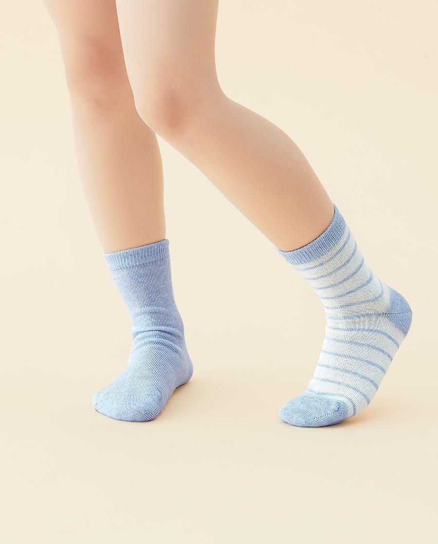 JOURVA袜子|足哇清新条纹(2件包)蓝底条纹提花短筒袜