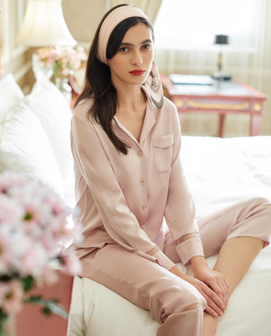 La Clover睡衣|蘭卡文20SS星語星愿系列真絲長袖套裝L