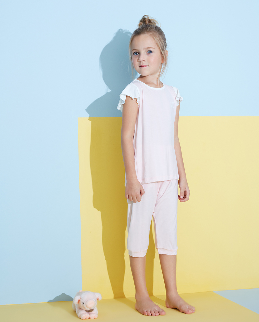 Aimer Kids睡衣|愛慕兒童靜享夏日女孩套頭短袖睡衣AK14