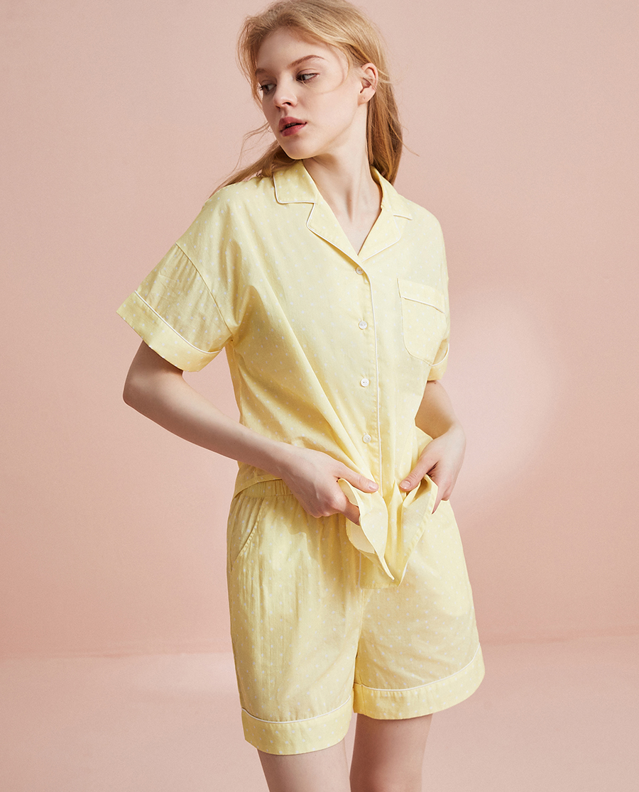 HUXI睡衣|乎兮【纯棉】梭织家居套装HX462019