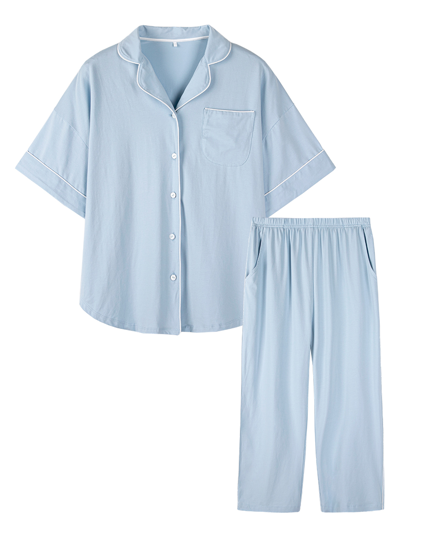 HUXI睡衣|乎兮短袖七分裤家居套装HX462008