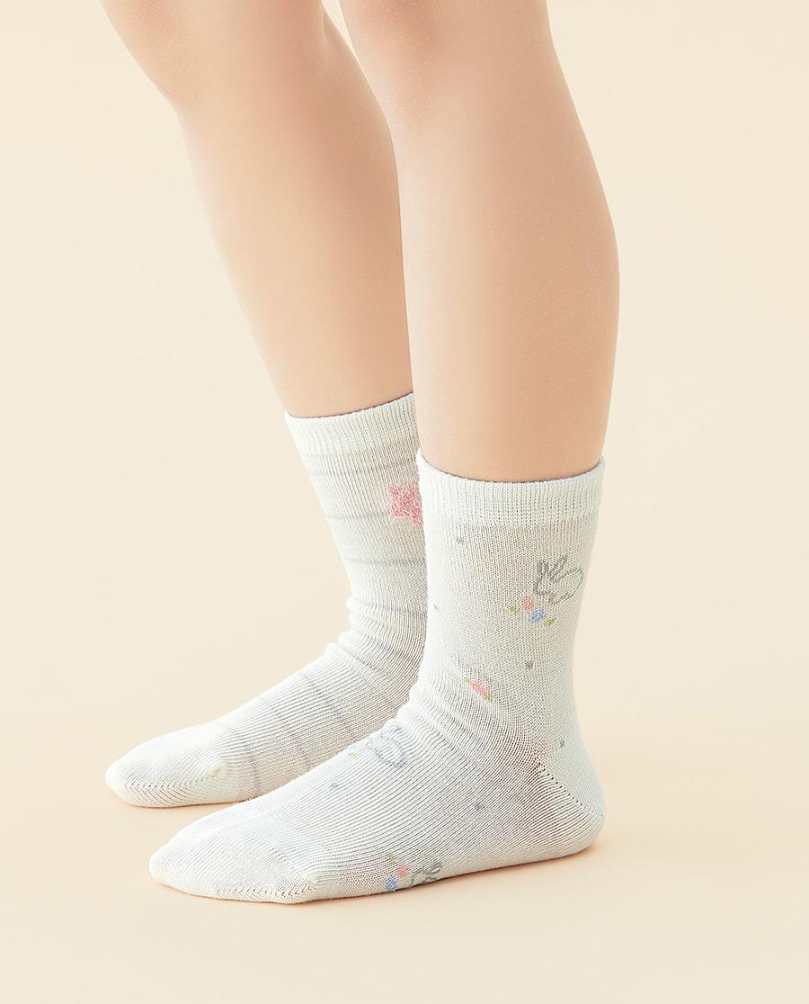 JOURVA袜子|足哇可爱兔兔(2件包)兔子提花棉质短筒袜