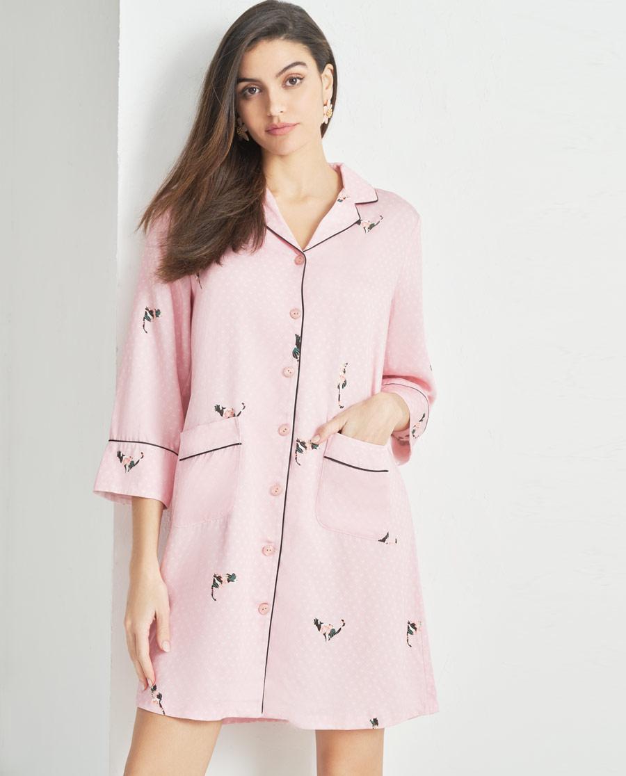 Aimer Home睡衣|爱慕花喵衬衫裙AH440871