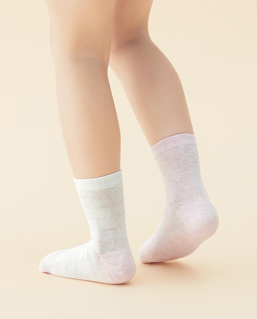 JOURVA袜子|足哇清新条纹(2件包)粉底条纹提花短筒袜