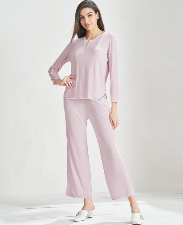 Aimer Home睡衣|爱慕家居舒眠雅韵长袖长裤分身家居套装AH460811