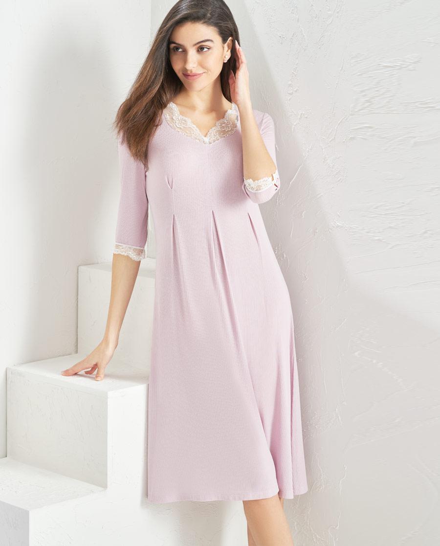 Aimer Home睡衣|爱慕家品舒眠雅韵七分袖中长睡裙AH440