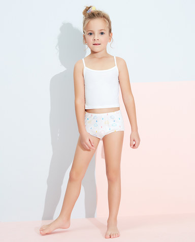 Aimer Kids内裤|爱慕儿童天使小裤清爽棉印花女孩彩虹雨满印面包裤AK1222831