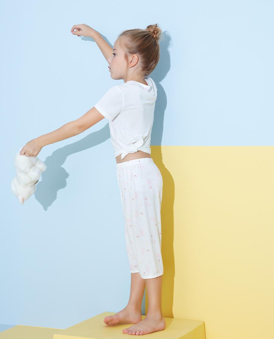 Aimer Kids睡衣|2件裝愛慕兒童粉馨天鵝女孩短袖上衣七分褲