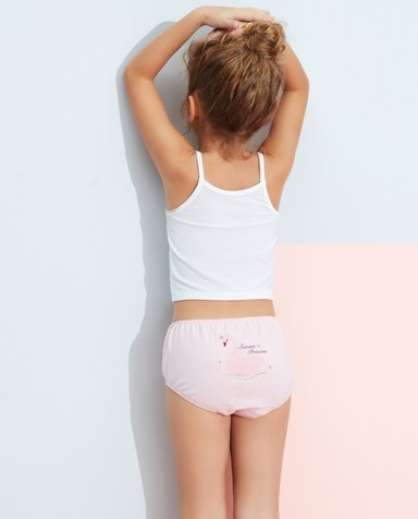 Aimer Kids内裤|爱慕儿童天使小裤清爽棉印花女孩天鹅局印泡泡裤AK1222835