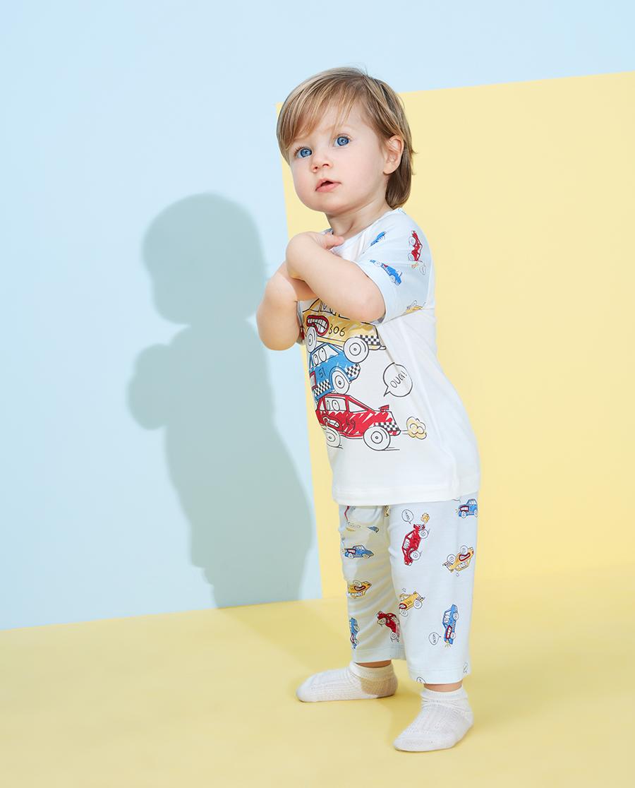 Aimer Baby睡衣|愛慕嬰兒賽車總動員男嬰幼套頭短袖睡衣AB