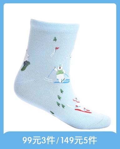 Aimer Kids袜子|爱慕儿童袜子滑雪熊印花童袜AK2942465