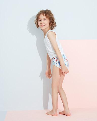 Aimer Kids内裤|爱慕儿童天使小裤清爽棉印花男孩小建设者面包裤AK2222833