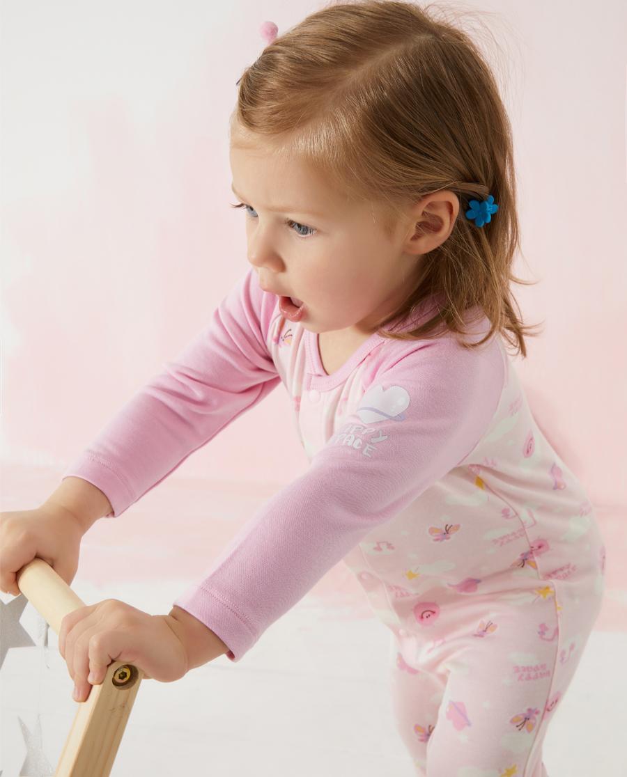 Aimer Baby保暖|爱慕婴儿快乐星球女婴幼长袖连体爬服AB1