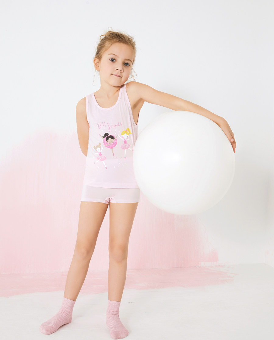 Aimer Kids睡衣|爱慕儿童天使背心MODAL印花女孩芭蕾女孩背心AK1114071