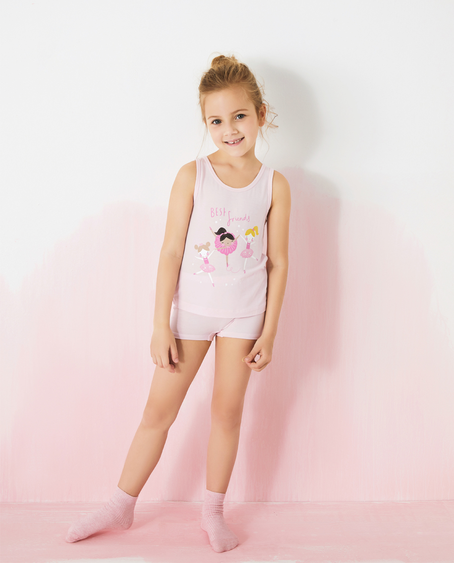 Aimer Kids睡衣|愛慕兒童天使背心MODAL印花女孩芭蕾女