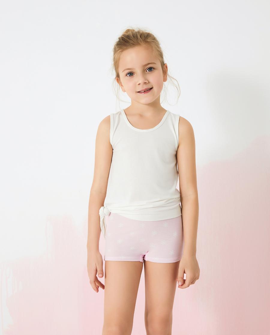 Aimer Kids內褲|愛慕兒童粉色雪花女孩中腰平角褲兩件包AK
