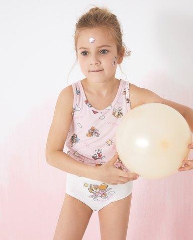 Aimer Kids内裤|爱慕儿童天使小裤棉氨纶汪汪队女孩阳光天天中腰三角裤AK1224111