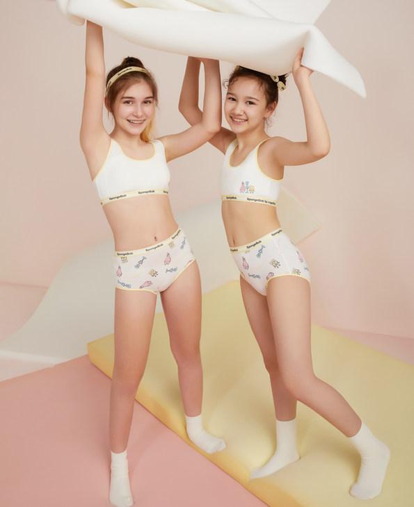 Aimer Junior内裤 爱慕少女海绵宝宝好友记中腰平角裤少女AJ1233581