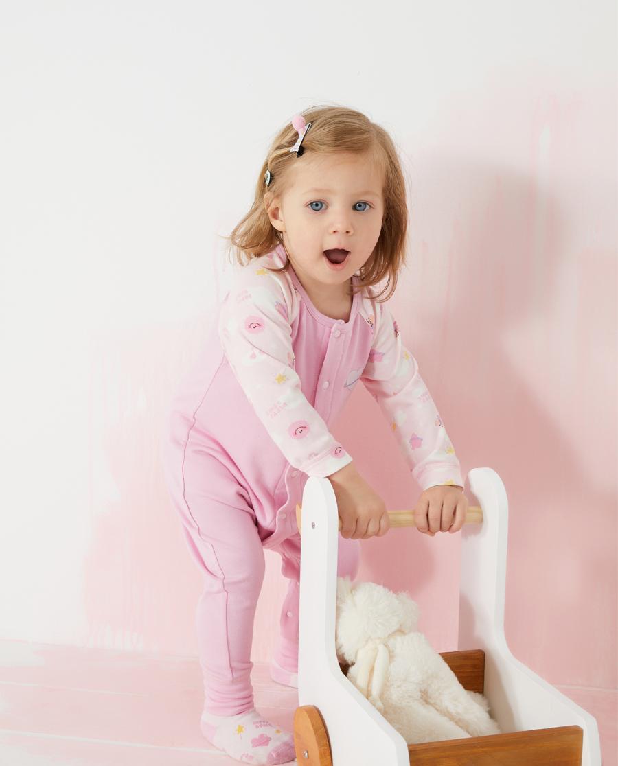 Aimer Baby睡衣 愛慕嬰兒快樂星球女嬰幼長款分腿睡袋AB1