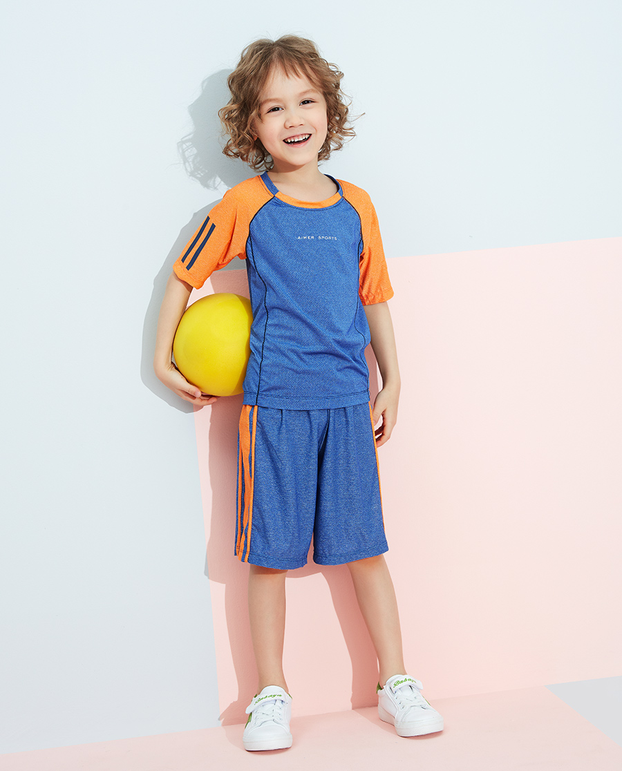 爱慕儿童运动拼接男孩短袖上衣AK2811451